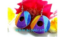 Wooden Earring Painted Oval Shape