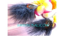 Black Painted Feather Earrings
