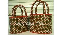 Pandanus Straw Bags Set 2