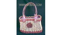 Straw Bags Handle Leather