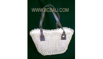 Straw Bags Leather Handle