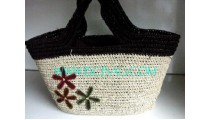 Straw Bags With Flower Design