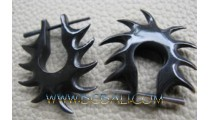 Black Earrings Horn Carving