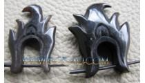Body Earring Carved Black Horn