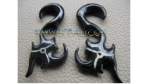 Ethnic Tribal Carved Horn Hook