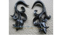 Floral Horn Carved Tribal Hooked