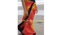 Hand Painted Rayon Sarong Floral Design Made in Bali