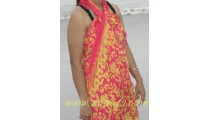 sarongs pareo rayon Hibiscus batik hand stamp
