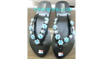 Turquise Floral Bead Slipper