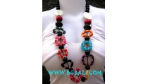 Wood And Bone Painted Necklaces