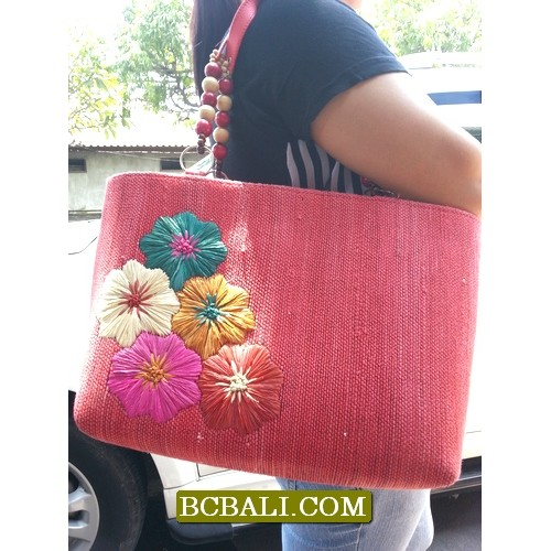 Bali handmade straw handbags embroidery designs