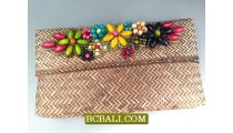 Beaded Rattan Natural Wallet Purses Design