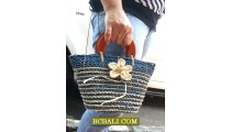 Casual Handbags Women Straw Flowers