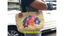 Embroidery Handmade Straw Bags Flowers