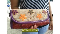 Jute Wallet Purses Natural Flowers