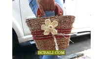Kids Straw Handbags Flower Handmade