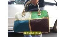 Ladies Handmade Travel Handbags Mix Color Straw