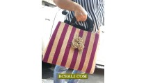 Flowers Handbags Wooden Handle Straw Agel