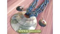 Bali Seashells Mother Pearls Pendants Necklace