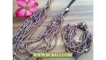 Balinese Designs Stone Charms Necklace Sets