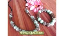 Turquoise Beaded Stone Necklace Bracelets Sets