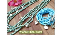 Charm Bead Necklace Long Strand Sets