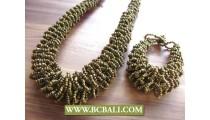 Golden Beads Necklaces Sets Braceleys