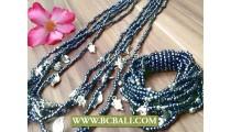 Long Strand Beads Charm Necklace Bracelets Set