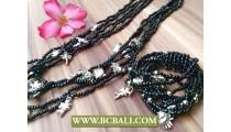 Multi Seeds Charm Necklaces Bracelets Sets