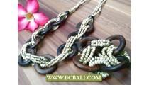 Organic Wood Necklace Set Bracelet Stretch