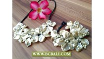 Nuged Shells Flowers Necklace Set Bracelets