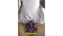 chokers necklaces beads multi strand pendants stone