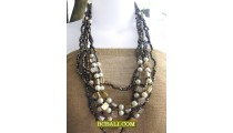 lady fashion beaded long strand necklaces bali