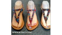 Bali Leather Wedges Sandal Full Beading