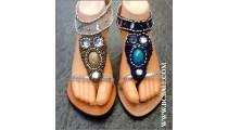 Elegant Wedges Leather Beads Stone