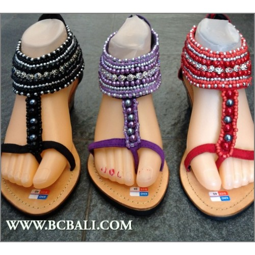0665a7895634 Leather Sandals Wedges Seeds Beading Casual - leather sandals wedges ...