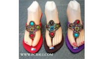 Indian Bead Stone Suede Wedges Footwear