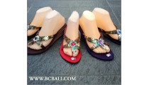 Women Sandal Semi Wedges Sequins Suede