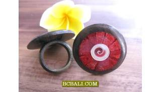 Black Wooden Ethnic Rings With Red Coral Shells