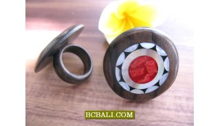 Bali Wood Rings Designs Shells Motif Hand Made