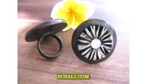 Black Wooden Hand Craft Rings With Shells