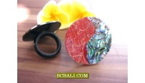 Abalone Shell Finger Rings Resin With Red Coral