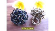Beading Multi Seeds Finger Rings Stretching Flowers Designs