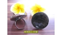 Black Seashells Finger Rings With Stainless Steel