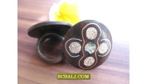 Balinese Wood rings Ethnic Designs Tribal
