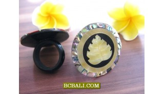 abalone seashells golden hand carving rings