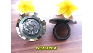 Bali Fashion Handmade Rings Made from Seashells Carved