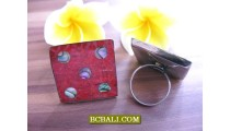 Balinese Red Coral Shells Handmade Finger Rings