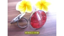 Exotic Designs Red Coral Shells Rings Handmade