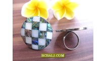 Bali Handmade Rings Stainless Steels with Shells